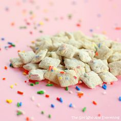 cake batter muddy buddies  Here are my edits:  6c chex  1 pk (6 squares) white choc  1/2 stick butter (to thin out choc)  1/2 c GF yellow cake mix  1/4 c powdered sugar  sprinkles
