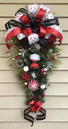 Items similar to Classy Santa Boot Christmas Swag on Etsy Diy Christmas Decorations Easy, Christmas Door Wreaths, Christmas Swags, Christmas Centerpieces, Holiday Wreaths, Rustic Christmas, Christmas Projects, Holiday Crafts, Christmas Holidays