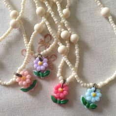 Summer beaded necklace/choker with mini flower pendant by cosmosandcornflowers on Etsy