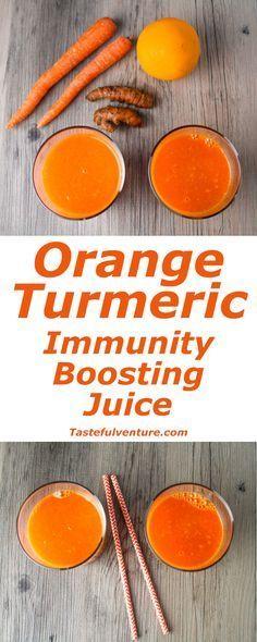 This Orange Turmeric Immunity Boosting Juice is full of Vitamin A and C, and so delicious! | Tastefulventure.com