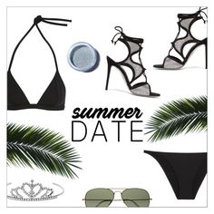 """""""Summer Date: The Beach"""" by danielle-487 ❤ liked on Polyvore featuring Eres, René Caovilla, Yves Saint Laurent, Ray-Ban, Lime Crime, beach and summerdate"""