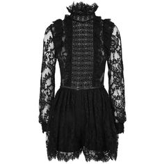Elie Saab Ruffled Lace Panel Playsuit (325.600 RUB) ❤ liked on Polyvore featuring jumpsuits, rompers, elie saab, high neck romper, lace ruffle romper, flounce romper and lace rompers