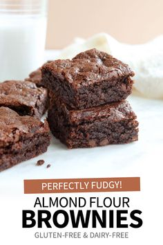 These are the best Almond Flour Brownies you'll ever make. All you need is 8 easy ingredients and one bowl to make these healthier gluten-free brownies. Paleo Dessert, Healthy Desserts, Delicious Desserts, Yummy Food, Almond Flour Brownies, Dairy Free Brownies, Healthy Brownies, Gluten Free Sweets, Gluten Free Baking
