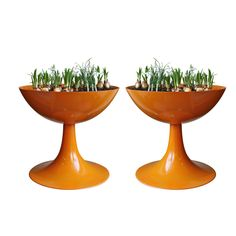 Denmark 1960s  Pair of original Nanna Ditzel planters in striking orange.--time for someone to remake these...