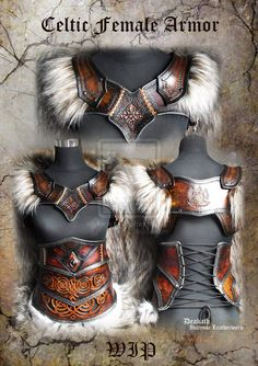 Celtic Female Armor set - WIP by Deakath on deviantART Lovely leather work, pity it fails the covering vital areas' test. Maybe over chainmail? and leather outfit Celtic Female Armor set - WIP by Deakath on DeviantArt Fantasy Armor, Medieval Fantasy, Medieval Gown, Larp, Female Armor, Female Viking Costume, Celtic Costume, Female Cosplay, Warrior Costume