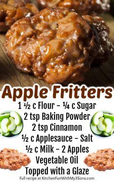 Easy Apple Fritters Recipe, Apple Fritter Recipes, Apple Fritter Bread, Apple Recipes Easy, Donut Recipes, Banana Bread Recipes, Cooking Recipes, Cooking Cake, Cinnamon Recipes