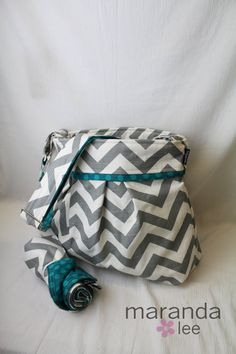 Stella Chevron Diaper Bag Set  Large Messenger Bag   by marandalee,