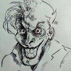 Joker, penna a sfera su carta, di Matteo Tirimagni.