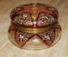 Large Exceptional Bohemian Czech Ruby Enamel Moser Art Glass Casket Box Jar Bees | eBay