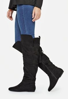 These knee high boots offer just the right amount of detail to add character to your cozy fall look. Smooth faux suede makes for a classic style, while that back tassel zipper spices up this boot. ...