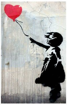 A great poster of Banksy graffiti art! A girl child reaches for a red balloon - a symbol of the loss of hope, love, or innocence. Ships fast. 11x17 inches. Check out the rest of our awesome selection