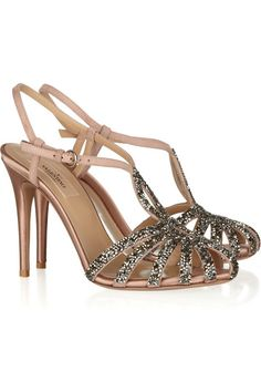 Valentino Crystal-embellished suede and satin sandals - My Color Fashion