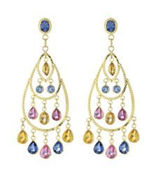 18K Yellow Gold Multi Sapphires Earrings from Goldsmith Jewelers.