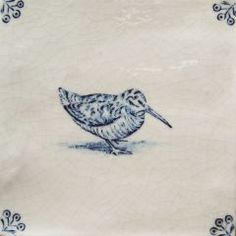 woodcock delft tile, date/manufacturer unknown Delft Tiles, Blue Tiles, White Tiles, Antique Tiles, Vintage Tile, Birds And The Bees, Handmade Tiles, Tile Art, Ceramic Pottery