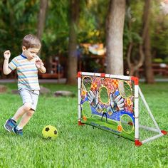 """Soozier This football door is ideal for football game practice, being a fantastic activity for interaction between parents and children, friends, or colleagues at outdoor or indoor activity. Thanks to its compact and lightweight portable design. It' help promote the ability to react quickly, improve body coordination, enhance agility and psychomotor skills. Have a great time with your friends and family anytime you play.   Soozier Portable Soccer Goal, Plastic/Vinyl, Size 30""""H X 45""""W X 19""""D   Wa Soccer Games For Kids, Youth Soccer, Portable Soccer Goals, Soccer Trainer, Indoor Activities, Gifts For Kids, Kids Toys, Indoor Outdoor, Backyard"""