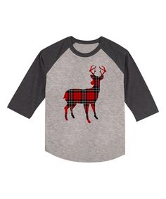 Look at this American Classics Gray Heather Plaid Deer Raglan Tee - Toddler & Kids on #zulily today!
