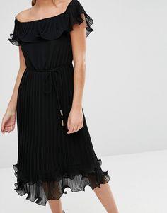 Image 3 ofOasis Pleated Ruffle Bardot Midi Dress