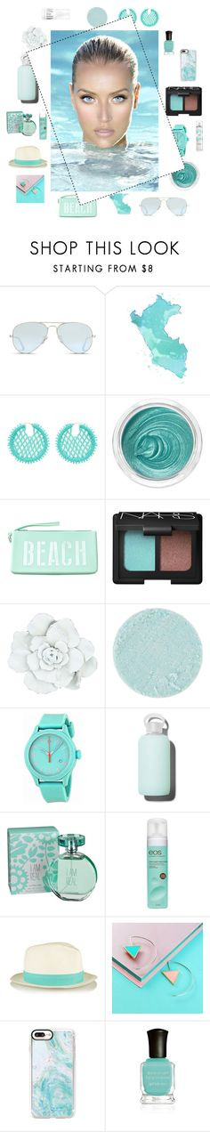 """Waterproof"" by bethany-333 ❤ liked on Polyvore featuring Ray-Ban, Oscar de la Renta, 3ina, Maison Margiela, NARS Cosmetics, Surratt, Movado, bkr, maurices and Eos"