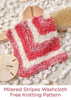 Mitered Stripes Washcloth Free Knitting Pattern in Red Heart Scrubby Cotton yarn -- Combine three shades of yarn for this modern take on the useful washcloth. The 100% cotton yarn has the same texture as original Scrubby, but is softer when wet. For a spa-style gift, pair it with a back scrubber and bar of soap.