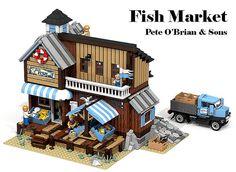 LEGO Ideas - Fish Market by Ymarilego. :) If you have a LEGO Ideas account than please support! Lego Design, Lego Fish, Lego Beach, Casa Lego, Lego Universe, Lego Trains, Lego Room, Lego Modular, Cool Lego Creations
