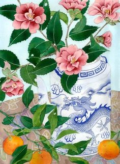 Camelias and oranges Gabby Malpas watercolour C6 by GabbyMalpas, $4.00