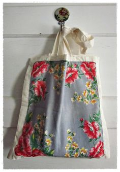 Upcycled Tote Bag Vintage Hankie Applique Eco by beevintageredux, $21.00