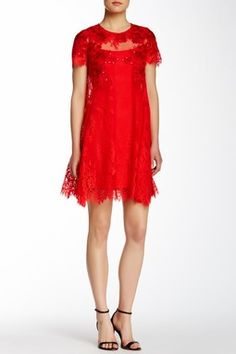 Marchesa Notte Lace Trapeze Dress