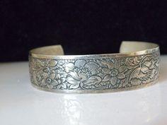 Vintage STERLING Silver 925 Walter E Hayward Floral Cuff Wrap Bracelet  #WalterEHayward #Cuff