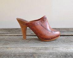 Wooden Clogs Sz 7  //  High Heel Clogs  Sz by VintageUrbanRenewal