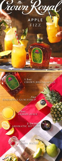 This summer, give your friends something to fizz about with a delicious cocktail recipe made with the smooth flavor of Crown Royal Regal Apple. To mix up a Crown Royal Apple Fizz, add 1.5 oz Crown Royal Apple, .5 oz pineapple gum syrup, .75 oz lemon juice, and 2 dashes bitters into a shaker filled with ice. Then shake, strain in a highball glass, and top with club soda. Happy hosting!