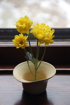 Vase Ikebana Style Bud Vase in Yellow with Curved Rim by moonstarpottery on Etsy