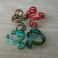 Colored Copper Wire Ear Cuff Swirl Simple by RazielaDesigns, $4.00