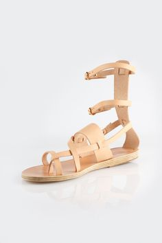 Elegant Ancient Greek Sandals in a natural gladiator silhouette. Buckle closures at ankle straps. Made in Greece.    1cm heel.   Alethea Mid Gladiator Sandal by Ancient Greek Sandals. Shoes - Sandals - Gladiator Sydney, New South Wales, Australia