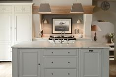 Neptune Kitchen - love light in this kitchen. Marble tops are also beautiful. Gorgeous style of kitchen. Love the unit colour too. Kitchen Store, New Kitchen, Kitchen Ideas, Neptune Kitchen, Freestanding Kitchen, Kitchen Island Lighting, Kitchen Islands, Kitchen Family Rooms, Room Kitchen