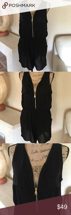 """Simply Sheer Black Romper (XL) Sheer black Romper with full front gold zipper. Two front closed pockets and two open side pockets. Armpit to armpit measures approximately 21"""". Just cute and sexy. A must have for every closet💥💥 J for Justify Pants Jumpsuits & Rompers"""