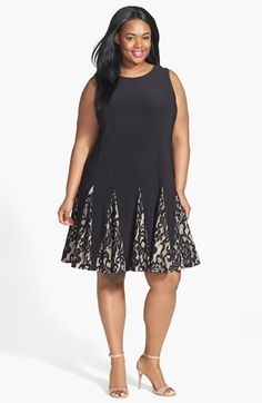 Betsy & Adam Lace Godet Skirt Dress (Plus Size) available at #Nordstrom
