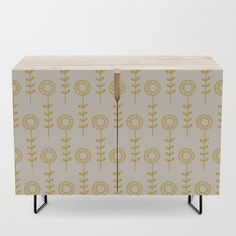 Sunflowers - yellow and beige Credenza by wackapacka Office Cabinets, Bar Carts, Tv Stands, Walnut Finish, Sunflowers, Cleaning Wipes, Birch, Doodle, Mid-century Modern