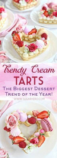 These trendy Cream Tarts are all the rage! Also known as cream biscuits or cream cakes, you can cut them into letters, numbers, or shapes, and decorate them with fruits, flowers, and all your favorite candies.   From SugarHero.com #creamtarts #lettercakes #numbercakes #creambiscuits #desserts #baking #cookiecakes