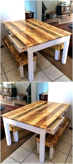 Dining room requires a table and it is a mandatory part of this specific room in the home, so we added this shipping pallet  made dining table with the drawers in this list of wood pallet items that you have never thought to create ever. #palletfurnitureplans