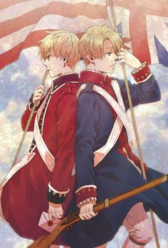 I love how England's holding a letter and America a musket