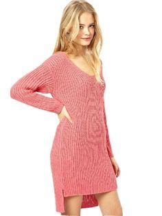 Feminine Style V Neck Asymmetrical Length Sweater Dress | Soft Rose Pink Colour