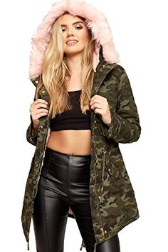 WEARALL Women s Camouflage Print Neon Faux Fur Lined Jacket Coat Hooded  Parka Review 9a9a5fd2316