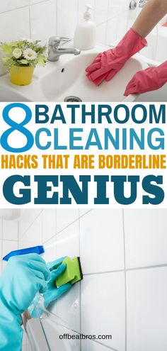 8 Clever Bathroom Cleaning Hacks For A Clean & Shining Bathroom. These bathroom cleaning hacks will help you get a clean bathroom easy. Check these bathroom cleaning hacks today for a shiny clean bathroom. Deep Cleaning Tips, House Cleaning Tips, Cleaning Solutions, Spring Cleaning, Cleaning Products, Deep Cleaning Schedule, Cleaning Crew, Weekly Cleaning, Cleaning Recipes