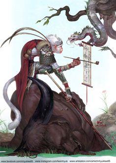 Monkey King story (personal work), InHyuk Lee on ArtStation at https://www.artstation.com/artwork/Ly0zR Rey Mono, Monkey Pictures, Journey To The West, King Tattoos, Year Of The Monkey, Monkey King, King Art, West Art, Ink Illustrations