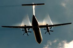 G-ECOE Flybe De Havilland Canada DHC-8-402Q Dash 8 showing an amazing prop-vortex after taking off from EHAM Schiphol
