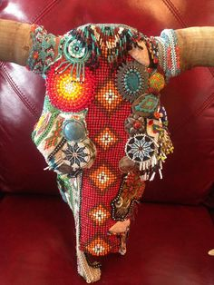 Cow Skull Vintage Indian Mozaic Bead Wall Art by JustReminiscing,