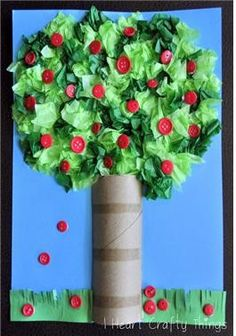 Tree Craft It's Apple Pickin' Season! Try this neat apple tree craft using tissue paper, buttons, toilet paper rolls.It's Apple Pickin' Season! Try this neat apple tree craft using tissue paper, buttons, toilet paper rolls. Kids Crafts, Fall Crafts For Kids, Tree Crafts, Art For Kids, Diy And Crafts, Kids Diy, Autumn Crafts, Diy Autumn, Leaf Crafts