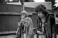 CLASSIC photo of Jimi Hendrix and Brian Jones walk backstage at the Monterey Pop Festival, by Jim Marshall 1967
