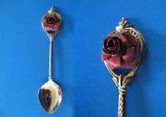 Oregon Souvenir Collector Spoon Collectible Red Rose Flower State Vtg.