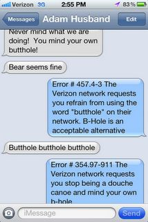 """...and THIS is how those husband communications currently go.  This was a text conversation between me and my hubby Adam. Best part? When I posted this on Facebook someone said """"OMG Verizon is reading our texts?!"""" and I replied """"I don't think Verizon would call my husband a douche canoe. Unfortunately""""."""